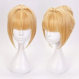 Ani·Lnc Wig Cosplay Wigs for Saber with 1 Clip on Hair Bun Heat Resiatant Custome Wigs For Women