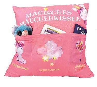 Kamaca Original cojín decorativo con 3 bolsillos para rellenar, tamaño 43 x 43 cm, con bonito unicornio, regalo ideal para cumpleaños, fiestas, certificado Öko Tex (cojín mágico para niña)