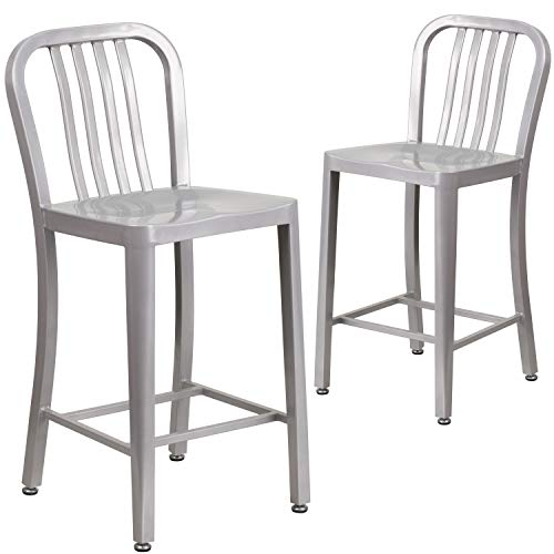 Flash Furniture Commercial Grade 2 Pack 24' High Silver Metal Indoor-Outdoor Counter Height Stool with Vertical Slat Back