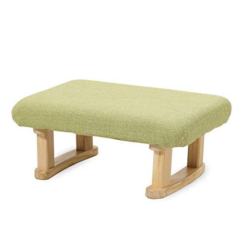 JSMY Taburete de Madera Maciza,reposapiés tapizado/Banco de sofá,Banco de Zapatos para Adultos y niños,Taburete Escalonado,Adecuado para la Sala de Estar del Dormitorio del Pasillo(Color:A-Verde)