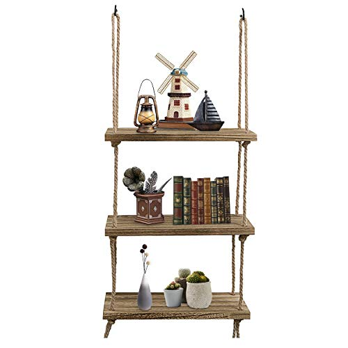 Oyydecor Wall Hanging Shelf, 3 Tier Distressed Wood Swing Storage Shelves Jute Rope Organizer Rack, Rustic Home Wall Decor (Natural)