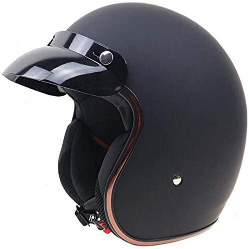 ZHXH Casco de moto Harley, hombres y mujeres adultos Evergreen Street Riding 3/4 Retro Open Face Helmet Dot Approved,