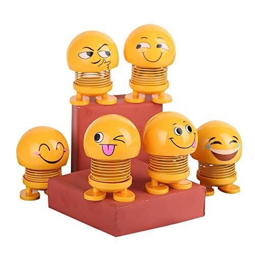 SDGDFXCHN Kreative Auto Emoticon Pack Schütteln Kopf Puppe Ornamente Auto Smiley Bounce Swing Frühling Puppe Auto Liefert, Schütteln Kopf Auto Size 6.8 * 4.3 * 4cm (Smile)