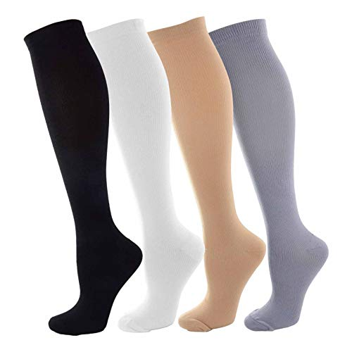 NOVAYARD Compression Socks for Women and Men Support Graduated 15-20 mmHg Medias De Compresion Mujer(4 Pairs)