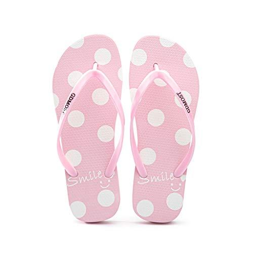 Lunar de los Fracasos de tirón de Las Mujeres de Verano Plana talón Antideslizantes Playa de los Deslizadores Pinzas Sandalias Cómodo (Color : Pink, Size : 36)