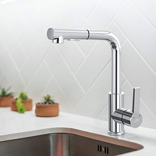 Auralum Küche Wasserhahn Küchenarmatur mit Ausziehbar Brause Spültischarmatur Hochdruck Mischbatterie 360° drehbare Armatur Einhebelmischer, 2 Strahlarten
