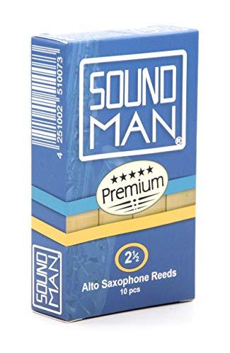 Soundman® Blättchen für Altsaxophon Blätter Reeds Alt Saxophon Saxophonblättchen Saxophonblätter Rohrblättchen Rohrblätter 1 Schachtel 10 Stück (2.5)
