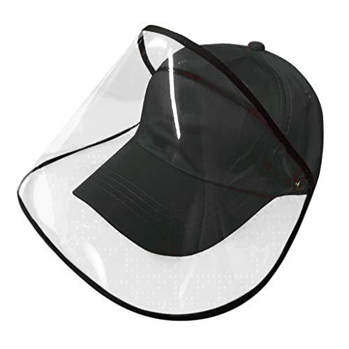 FUN FAN LINE - Gorra de béisbol con Pantalla o máscara Facial Protectora Transparente para Mayor Seguridad. Protector de Cara. (Negro)