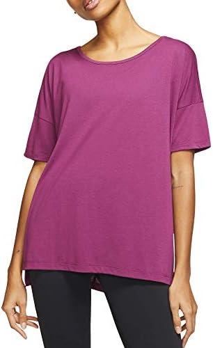 Nike Camiseta de Entrenamiento de Manga Corta Rojo para Mujer