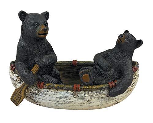 2 Black Bears Canoeing Figurine Rustic Home Cabin Decor 4.5' x 3.5'