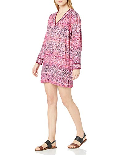La Blanca Women's V-Neck Tunic Cover Up Dress, Pink//The Idealist, L