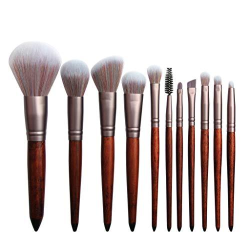 Snakell Kit de Pinceau maquillage Professionnel 11 PCS Ombre à Paupière Doré Blush Fondation Pinceau Poudre Fond de teint Anti-cerne Kit Pinceaux avec sac