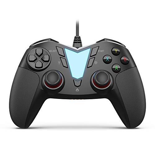 IFYOO One Pro - Mando a Distancia con Cable USB para Videojuegos, Compatible con Ordenadores y Ordenadores portátiles (Windows 10/8/7/XP), Android (Panel, Tablet, TV y Caja), PS3, Color Negro