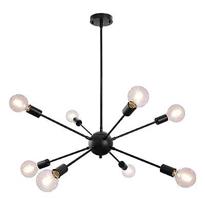 Sputnik Chandelier 8 Lights Black Modern Ceilin...