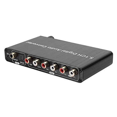 Sutinna Convertisseur Audio numérique-analogique, décodeur 5.1 DTS/AC3 Décodage Dolby Entrée SPDIF vers convertisseur Audio numérique 5.1 canaux Prise en Charge du Dolby LPCM/PCM/RAW(Noir)