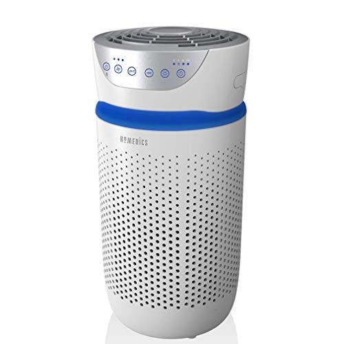 HoMedics Purificateur d'Air Filtres HEPA et Charbon Compact, Assainisseur d'air Portable, Mode Nuit silencieux, Option Aromathérapie