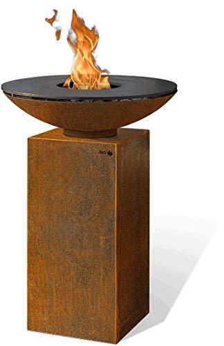 FeuerCampus365 PIO PLANCHA Feuerschale Ø 80 cm aus Cortenstahl mit Carbonstahl-Grillplatte auf Podest Höhe 80 cm aus Cortenstahl