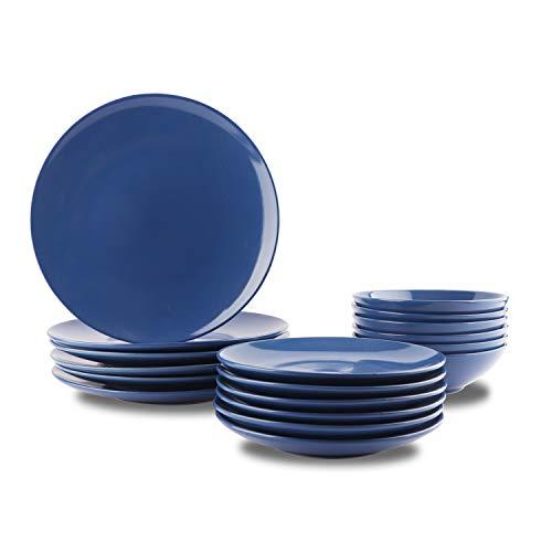 AmazonBasics, servizio di piatti, in grès, da 18 pezzi, Blu reale, per 6 persone