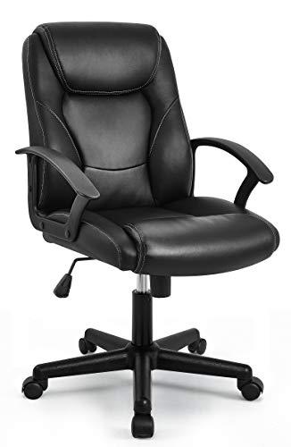IntimaTe WM Heart silla de oficina, Silla de escritorio ergonómica, Silla giratoria de oficina de altura ajustable, PU Resistente, Negro