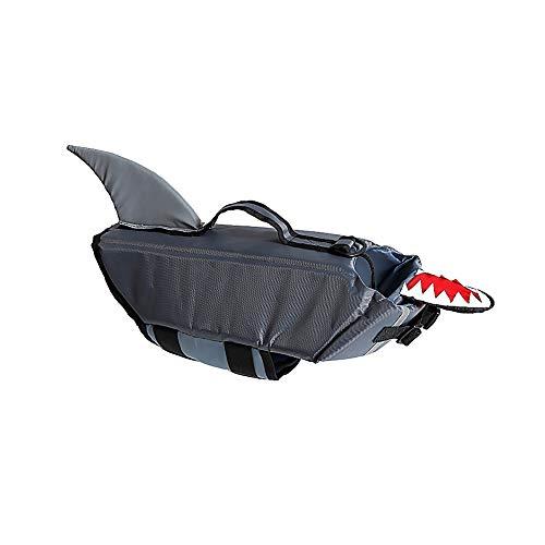 Yisily Chaleco Salvavidas Perro Lindo Tiburón Forma Natación del Perro Chaleco De La Capa De Flotabilidad Auxilios para Animales Domésticos Barca Surf Suministros S Gris