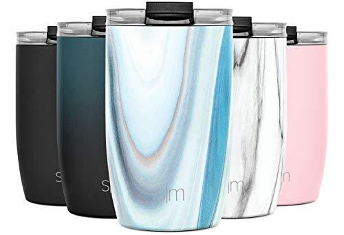Simple Modern 355 ml (12oz) Voyager Thermobecher-Klappdeckel und Trinkhalme schließen Kaffeebecher to go Thermoskanne Trinkflasche Edelstahl vakuumisoliert Tasse für Kaffee Muster: Ozean Quarz