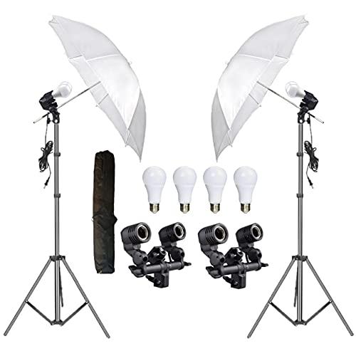 HIFFIN® E27 Studio Double Holder KIT Umbrella White + Studio Light Stand 9 FT+ Umbrella and Bulb Holder KIT Set of 2 (2 Double Holder,2 Light Stand 9FT,2 Umbrella, 4 20 W LED Bulb)