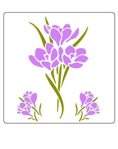 Faux Like a Pro Schablone mit Krokus-Blumen, 14 x 18 cm, Einzelauflage