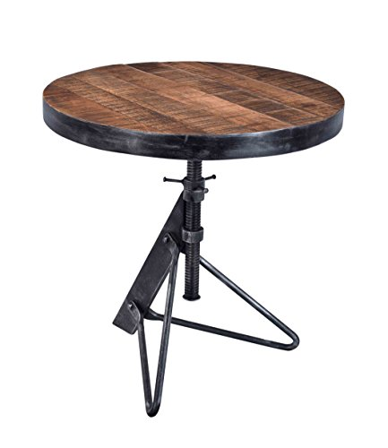 Treasure Trove Accents Adjustable Round Accent Table, Natural/Restoration