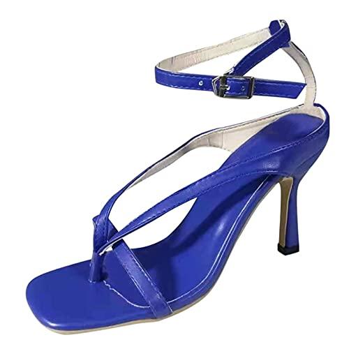 tacónes Mujer Sexy de Dedos Moda Verano 2021 Sandalias Mujer tacón de Aguja Elegantes Baile Boda Matrimonio Ceremonia Sandalias de Vestir Chanclas con Hebilla de Tobillo Zapatos Mujer Damas