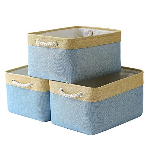 pulnimus Fabric Storage Baskets for Shelves [3-Pack] Large Baskets Set Collapsible Baskets for Organizing, Decorative Baskets Bins with Handles for Clothes, Toy, Home, Closet, Office (Blue)