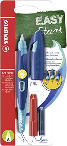 Ergonomischer Schulfüller für Linkshänder mit Anfänger-Feder A - STABILO EASYbirdy in mitternachtsblau/azur - Einzelstift - Schreibfarbe blau (löschbar) - inklusive Patrone und Einstellwerkzeug