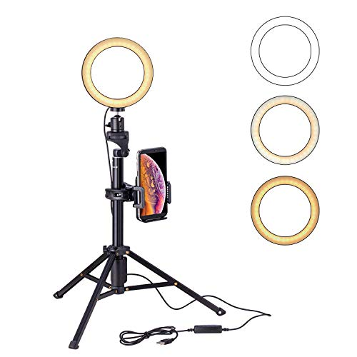 Eocean 8 pulgadas Selfie anillo de luz con 54 pulgadas Selfie Trípode para YouTube / Transmisión en…