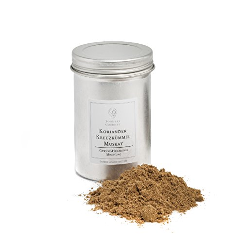 Boomers Gourmet - Gewürz Heilmittel Mischung aus Koriander, Kreuzkümmel, Muskat - Gewürzdose - 120 g