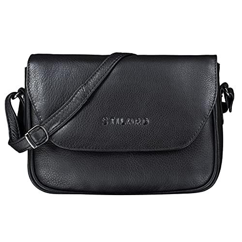 STILORD \'Esther\' Damen Handtasche Umhängetasche Echtleder Vintage Ledertasche zum Ausgehen Klassische Abendtasche Partytasche Freizeittasche Leder, Farbe:schwarz