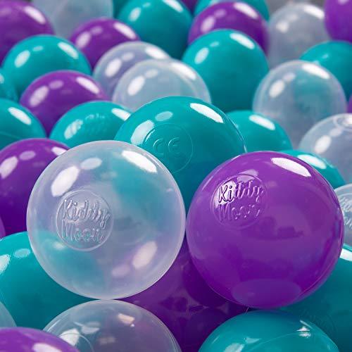 KiddyMoon 300 ∅ 7Cm Kinder Bälle Spielbälle Für Bällebad Baby Plastikbälle Made In EU, Türkis/Violett/Transparent