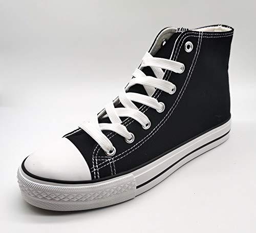 P&L Zapatillas Altas de Lona Mujer Botin Blancas Negras Basket Autoclave Negro 38