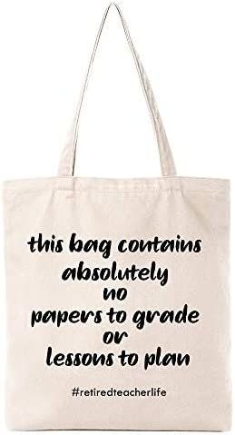 Funny Retirement Gift Natural Cotton Reusable Tote Bag Retired Teacher Eco Friendly Cotton Tote product image