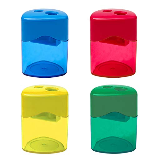 SUMAJU 4 Pcs Pencil Sharpeners, Dual Holes Sharpener with Lid for Kids Colored Plastic Manual Pencil Sharpeners for Office Home Supply
