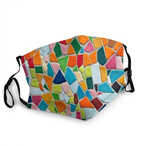 GNR-KGRL Face decoration - mouth - Breathable Comfort - Dust UV Sun - Fully Machine Washable - Reusable and Adjustable Protective Fabric - Dust Filter Pocket - Mosaic Tiles Pattern Texture