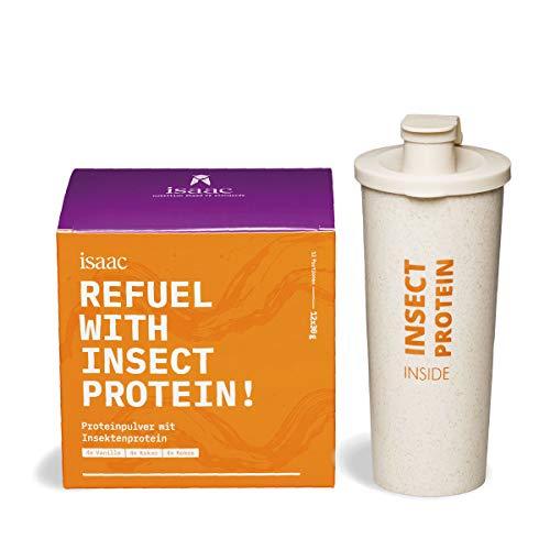 Protein Pulver mit Insektenprotein Starter-Set - 4 Vanille, 4 Kakao, 4 Kokos - mit nachhaltigem Shaker aus Weizengras - natürlich und laktosefrei