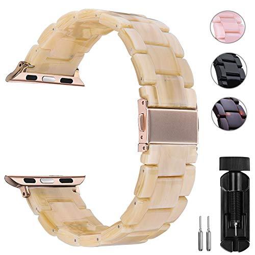 Anita, cinturino in resina leggera compatibile con Apple Watch da 38 mm, 40 mm, 42 mm, 44 mm, iWatch da donna e da uomo, per lo sport e il tempo libero, con chiusura in acciaio e rame, serie 5/4/3/2/1