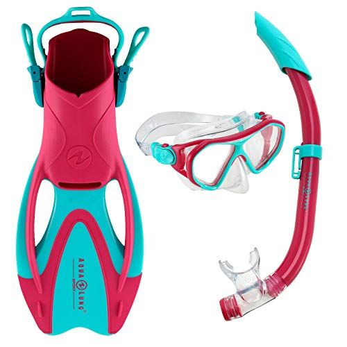 Aqualung Schnorchel Set Gr. L Urchin JR + Zinger Junior Kinder Pink Türkis