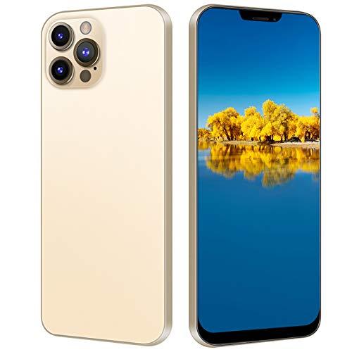 i12 Pro MAX entsperrtes Smartphone, 6,7 Zoll HD Bang Screen Handy, 2 + 32G Dual SIM Handy mit kostenloser 128G Speicherkarte für Android 10.0(Golden)