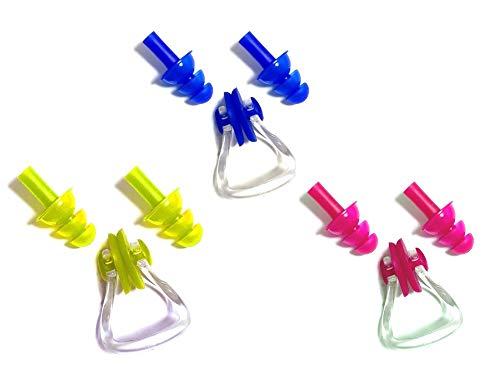 Fontee 3 Pack weichen Schutz Silikon Schwimmen Ohrstöpsel und Schwimmen Nase Clips Kits für Kinder, 3 Farben