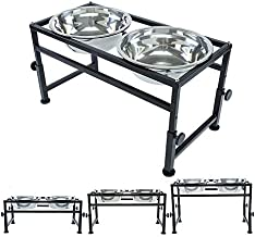 FOREYY Adjustable Raised Pet Bowls for Dogs and Cats - Elevated Iron Dog Cat Pet Food and Water Feeder Stand with 2 Stainless Steel Bowls and Anti Slip Feet for Small Medium Large Dogs (Large)