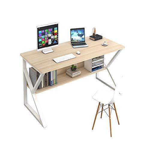 Plasaig - Escritorio compacto impermeable para computadora con cabaña, escritorio de madera para espacios pequeños, patas de mesa en forma de K, escritorio de oficina(madera de cerezo de arce)