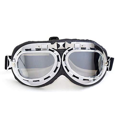 Delleu Motocicleta Medio Casco Gafas de Moto Motorista Motociclista Motocross cruceros Sol UV Viento Proteger