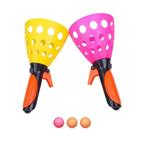 Kunststoff Fangballspiel Launch and Catch The Ball Das Original Pop N Catch Spiel Doppel Set mit 3 Bällen Vervollkommnen Sie für Hinterhof, Strand, Heckklappe   Spaß für Kinder und Erwachsene