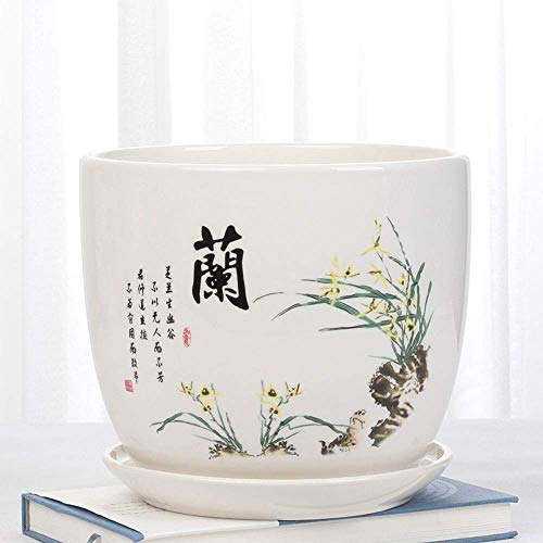 CHHD Chino tradicional T Cerámica Arte clásico T Jardinera de porcelana Florales Macetas de carne...