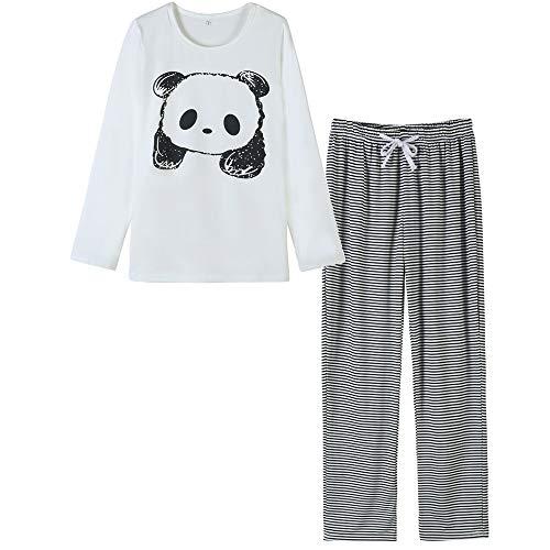 VENTELAN Women's Cute Panda Striped Long Sleeve Autumn Pajama Set Nighty, Medium, White/Black